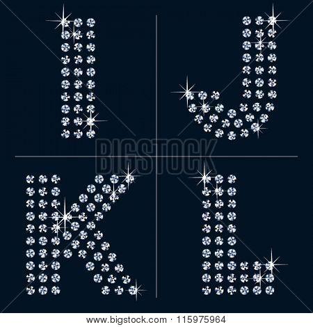 Vector black and diamond alphabet. Letters I J K L