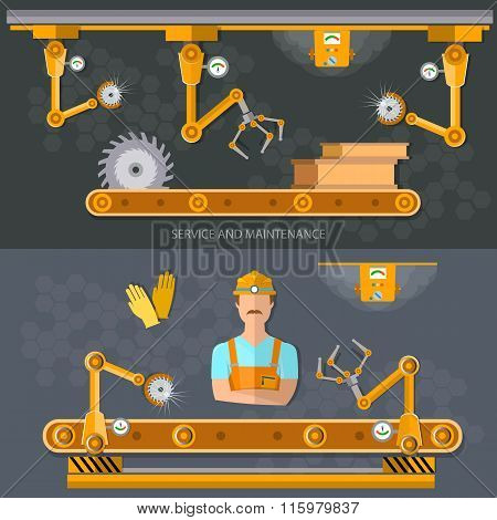 Robot Operation Of The Conveyor, Conveyor Belt Automation Of Work Vector Banners