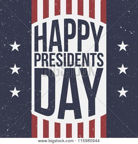 Happy Presidents Day vector patriotic retro Background poster