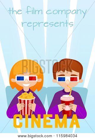 Moviegoers to the cinema vector illustration.