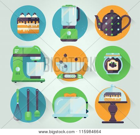 Vector set of kitchenware icon. Cooking illustration in flat style. Kitchen collection graphic icons
