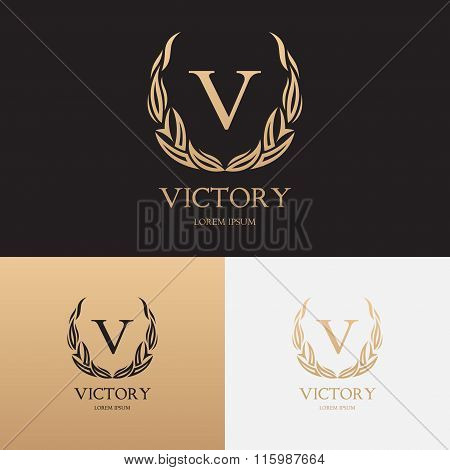 Vector template of logo of boutique brand with floral ornament