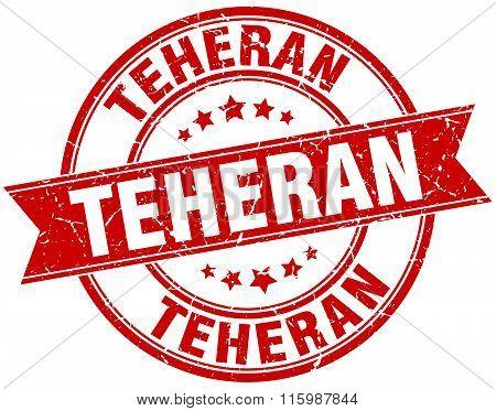 Teheran Red Round Grunge Vintage Ribbon Stamp