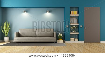 Blue And Brown Modern Livingroom