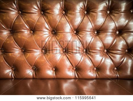 Brown Buttons Leather  Sofa