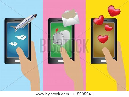 Mobile Phone Applications Vector Illustration