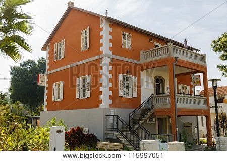 Tel-aviv, Israel - January 22, 2016: Red Building In Sarona