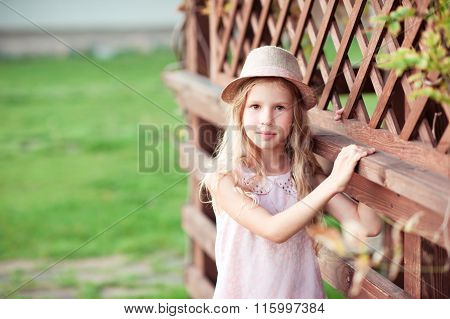 Beautiful kid girl outdoors