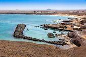 Fisher boats in Pedra Lume harbor in Sal Islands - Cape Verde - Cabo Verde poster