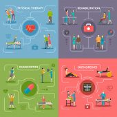 Physiotherapy rehabilitation 2x2 flat design concept set of orthopedic exercises medical diagnostics geriatric and palliative care icons vector illustration poster