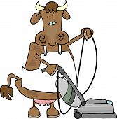 this illustration depicts a cow wearing an apron and using a vacuum cleaner. poster