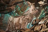 Abstract texture of the oxidated copper on the walls of the underground copper mine in Roros, Norway. poster