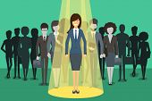 Businesswoman in spotlight. Picking the right candidate professional concept background. Leadership standing boss, executive profession, vector illustration poster