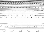 Vector Curved endless Train track. Sketch of Curved Train track. Outlines. poster
