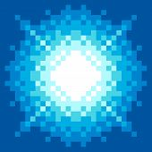 8-Bit Pixel-art Blue Explosion. EPS8 vector with each pixel separated out poster