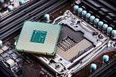CPU socket and processor on the motherboard poster
