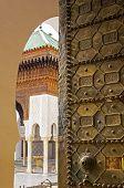 Entrance of the University al-Qarawiyyin or al-Karaouine. Fez El Bali Medina. Fez Morocco. North Africa. (focus in door) poster