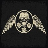 grunge biker theme label with flowers wings and skull poster