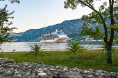 Large cruise ship at anchor in the Bay of Kotor. poster