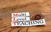 MLT- Multi Level Teaching written on paper on wooden background poster