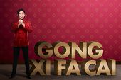 Gong Xi Fa Cai writing and chinese man smiling. Happy chinese new year concept poster