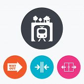 Underground metro train icon. Automatic door symbol. Way out arrow sign. Circle flat buttons with icon. poster