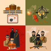 Terrorism concept taking hostages global threat world terror group terrorists vector set poster