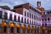 Plaza Alta High Square of Badajoz at twilight iluminated with led lights poster