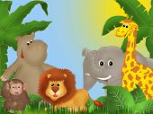 Illustration of jungle with cute smiling animals among green plants poster