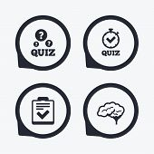 Quiz icons. Human brain think. Checklist and stopwatch timer symbol. Survey poll or questionnaire feedback form sign. Flat icon pointers. poster