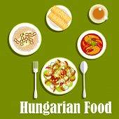 Hungarian cuisine dinner with bell pepper salad with mushrooms, cucumbers, tomatoes, corn, pasta topped with cottage cheese and bacon, fish soup, spit cakes and tea. Flat style poster