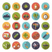 Collection of flat design camping, hiking and outdoor pursuit vector icons in circles poster