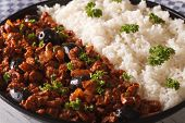 Latin American cuisine: Picadillo a la habanera with a side dish of rice macro. horizontal poster