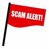 SCAM alert white stamp text on red flag poster