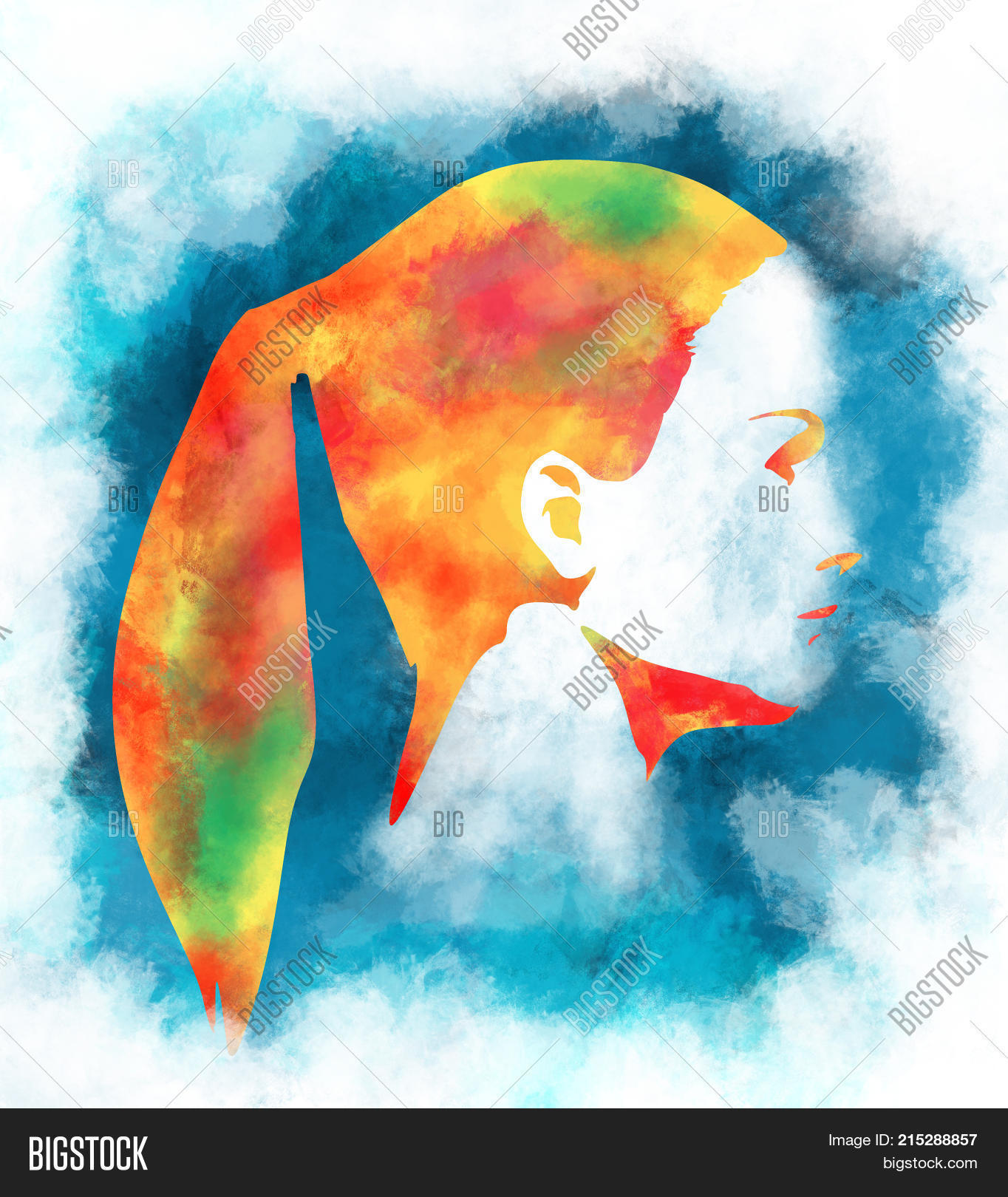 Art colorful sketching beautiful girl face with pony tail hairstyle portrait of beautiful woman