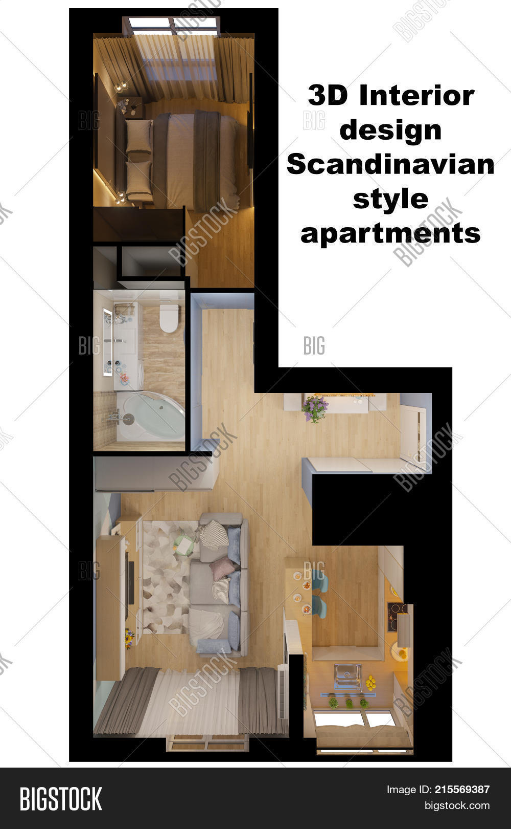 3d Illustration Of The Interior Design Of An Apartment In Scandinavian  Style. Top View Interior