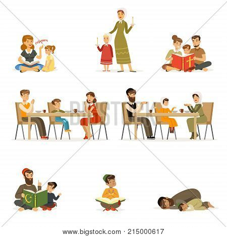 People characters of different religions set. Families in national costumes that pray, read holy books, teaching children, dinner. Jews, Catholics, Muslims religious activities. Flat cartoon vector