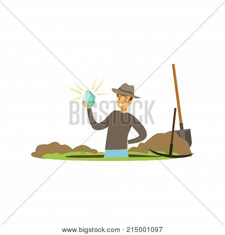 Happy treasure seeker knee deep in pit with precious stone in his hand. Tools for digging. Lucky guy. Cartoon man character who wants to get rich. Vector illustration isolated on white background.