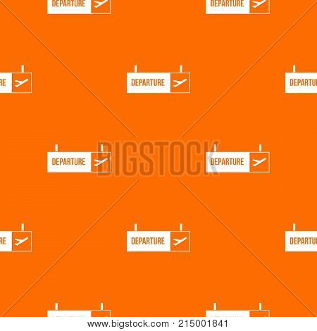 Airport departure sign pattern repeat seamless in orange color for any design. Vector geometric illustration