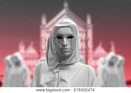 priestess of white magic, sorcerer with magical mask occult Masonic Lodge with temple background
