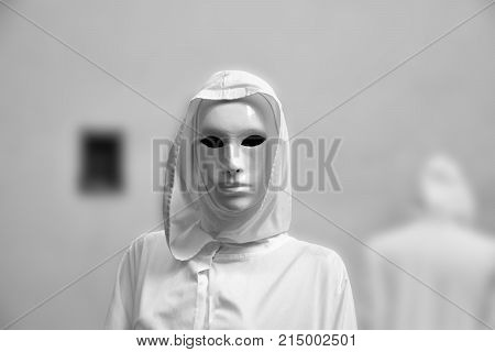 priestess of white magic, sorcerer with magical mask occult Masonic Lodge