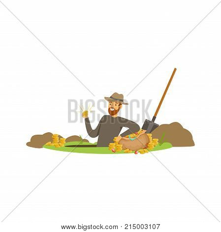Smiling bearded treasure seeker found gold coins in the ground. Lucky guy waist-deep in the pit of jewels. Cartoon man character who wanted to get rich. Vector illustration isolated on white.