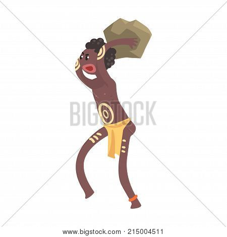 Black skinned man aborigine throwing a stone. Indigenous peoples of African or Australian tribe. Dressed in traditional skirt and with pattern on body. Cartoon flat vector character isolated on white.