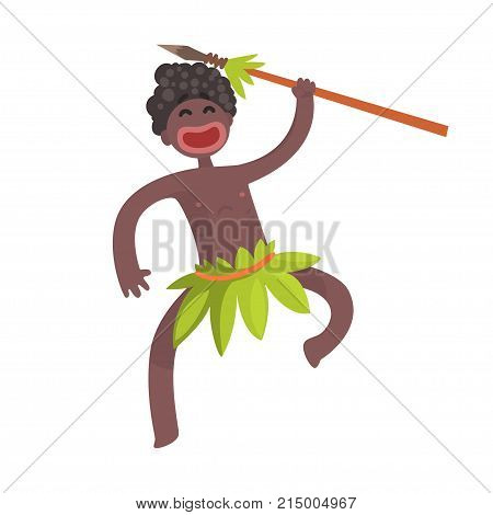 Funny black skinned man aboriginal. Warrior with weapon. Indigenous peoples of African or Australian tribe. Dressed in traditional green hula skirt. artoon flat vector character isolated on white.
