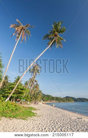 Tropical beach with blue sky at Thailand