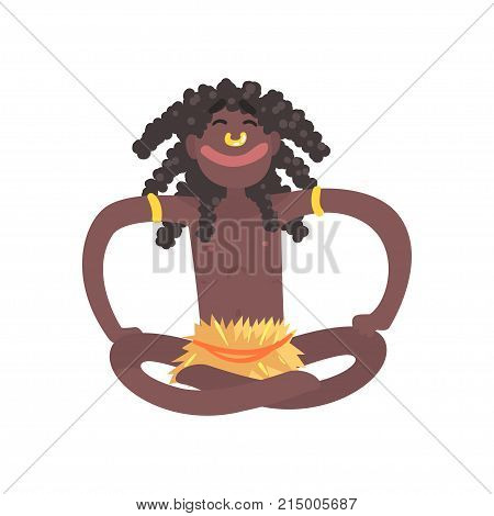 Smiling black skinned man aborigine sitting with legs crossed. Indigenous peoples of African or Australian tribe. Dressed in traditional hula skirt, dreadlocks. Flat vector character isolated on white