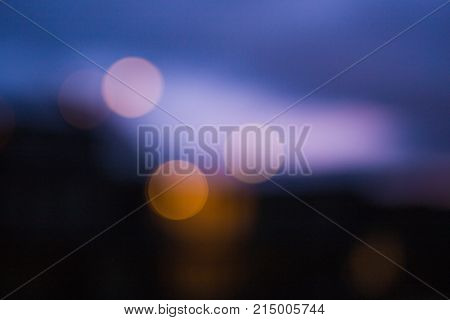 Unfocused City Lights And Residential Buildings