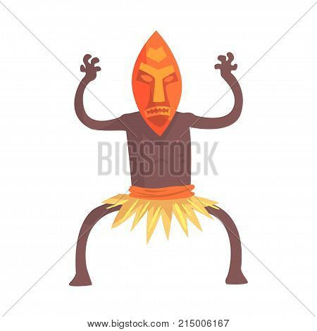 Black skinned man aborigine with hands up. Indigenous peoples of African or Australian tribe. Dressed in traditional hula skirt and tribal mask. artoon flat vector character isolated on white.