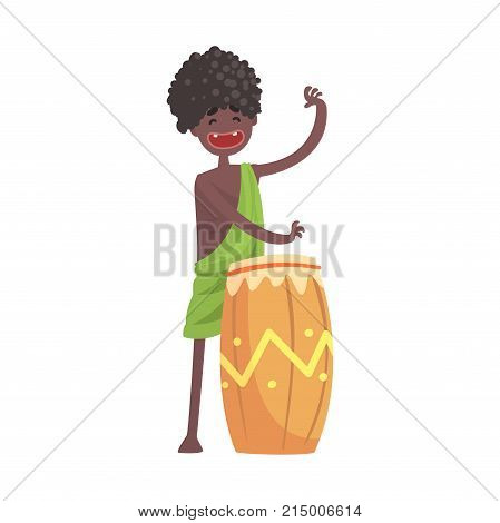 Happy black skinned man aborigine. Indigenous peoples of African or Australian tribe. Musician playing on ethnic drum. Dressed in traditional clothes. artoon flat vector character isolated on white.