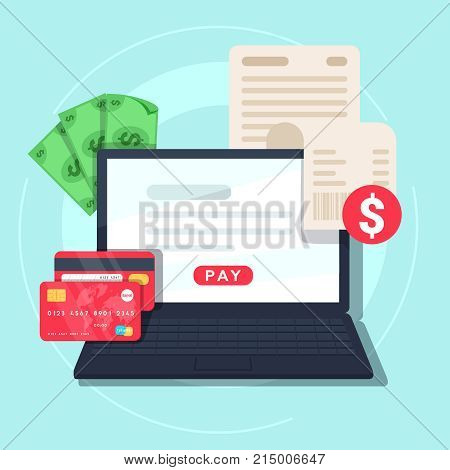 Paying bill online. Online Money Transaction Concept. Payment on internet concept. Flat design style vector illustration. Credit card notebook with bill and money.
